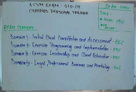 acsm certified personal trainer test